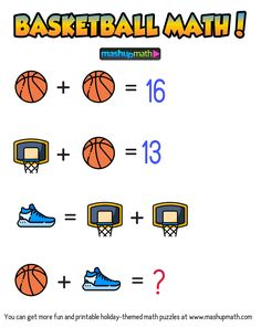 Are Your Kids Ready for These Basketball Math Puzzles? Math Quizzes, Math Worksheets, Maths Puzzles, Puzzles For Kids, Fun Math Activities, Math Games, Puzzle Books, Puzzle Games, Math Workbook