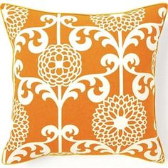 @Overstock - Dress up your decor with a bold decorative pillow from Jiti Pillows. Crafted by artisans in the United States, this Floret pillow offers a simple shape with a large orange and white floral print.http://www.overstock.com/Main-Street-Revolution/Jiti-Pillows-Floret-Orange-Cotton-Decorative-Pillow/6421796/product.html?CID=214117 $69.99