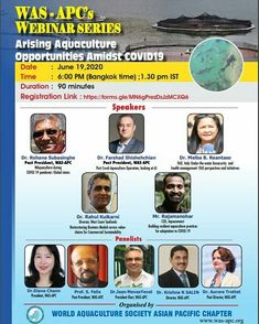 """Our CEO Rajamanohar Somasundaram is talking on 'Building Resilient Aquaculture Practices through Technology'. Join us on WAS-APC's webinar series 'Arising Aquaculture Opportunities Amidst Covid-19"""". Date - June 19, 2020, Time - 1.30 PM IST   #aquaconnect #aquaculture #webinar #sustainableaquaculture #covid19 #coronapandemic #WASAPC #worldaquaculturesociety Research Scholar, Aqua Culture, June 19, Apc, Opportunity, Join, Technology, Building, Tech"""
