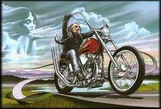 David Mann Motorcycle Biker Easyriders Centerfold Art Poster Print Wind At My Back Bike Chopper Stur - Products - Motorrad Harley Davidson Kunst, Harley Davidson Motorcycles, Harley Bikes, Davidson Bike, Vintage Motorcycles, Motorcycle Posters, Motorcycle Art, Motorcycle Wiring, David Mann Art