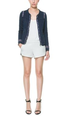 JACQUARD CARDIGAN WITH ETHNIC PATTERNED TRIMS from Zara