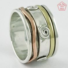 Spinner Sterling Silver 925 Spinning Ring Meditation Spin Spiral Tapping Size 9 #SilvexImagesIndiaPvtLtd #Spinner #AllOccasions