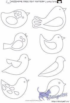 Embroidery Patterns Birds Felt Ornaments Ideas For 2020 Bird Patterns, Applique Patterns, Felt Crafts Patterns, Felt Patterns Free, Applique Templates Free, Fabric Crafts, Felt Ornaments Patterns, Felt Templates, Animal Patterns