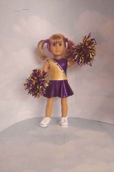 Purple and Gold Cheerleader 18 inch doll clothes 18 inch doll clothes Purple and Gold Cheerleader - #18inchcheerleaderclothes Cheer Outfits, Cheerleading Outfits, Girl Outfits, American Girl Doll Sets, American Girl Clothes, Custom Cheer Uniforms, Cute Cheerleaders, Nightgown Pattern, Doll Dress Patterns