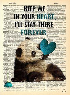 Panda bleu mur damour - impression Vintage sur page de dictionnaire - décor Taille des pages soit environ 7,8 x 10,8 po. (pouces), 20 x 27,5 cm