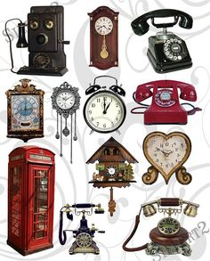 Telephones and Clocks Collage Sheet  You Will Get A by siefert2, $2.99