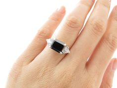 "4.6 Carat Natural Black Diamond Emerald Cut, White Sapphire Trillion Cut, Accented Engagement Ring ""One of a Kind"""