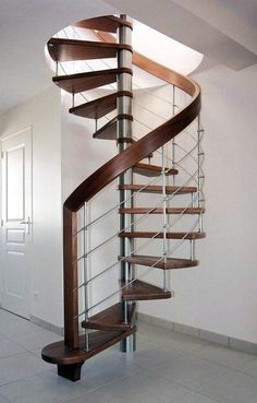 Spiral staircase (stainless steel frame and wood steps) - ArchiExpo Spiral Staircase For Sale, Spiral Staircase Dimensions, Spiral Stairs Design, Staircase Design, Round Stairs, Stairs And Doors, Interior Staircase, Wood Steps, Home Interior Design