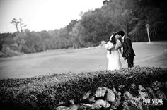 Portrait of the bride and groom at the Haile Plantation Golf & Country Club in Gainesville, FL - by Footstone Photography www.footstonephotography.com
