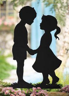 Shadow Kissing Kids: Celebrate summertime romance with this lawn silhouette of a boy and girl sharing a first kiss. Black finish metal shadow sculpture stakes easily and securely into the ground. Measures 33 and 30 H x 18 Kissing Silhouette, Shadow Silhouette, Couple Silhouette, Silhouette Cameo, Cute Couple Wallpaper, Collections Etc, Pencil Art Drawings, Scroll Saw Patterns, Yard Art