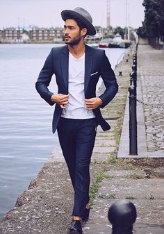 Casual Navy Blue Suit, White Tee, and Fedora. Men's Spring Summer Fashion.