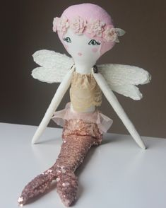 Mermaid Fairy by Liberty Lavender Dolls Mermaid Fairy, Mermaid Dolls, Plush Dolls, Doll Toys, Rag Dolls, Pin Up, Whimsical Nursery, Kawaii, Doll Maker