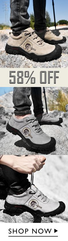 Men Durable Lace-up Soft Bottom Outdoor Hiking Shoes 9ec34c9e45