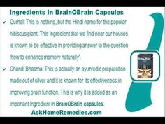 This video describes about how to enhance memory naturally with ayurvedic supplements. You can find more detail about BrainOBrain capsules at http://www.askhomeremedies.com
