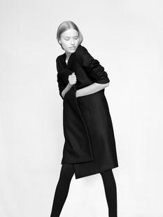 NON coat 100% finest merino wool fabric model Malwina Garstka Modelplus Photographed by Kasia Bielska thisisnon.com