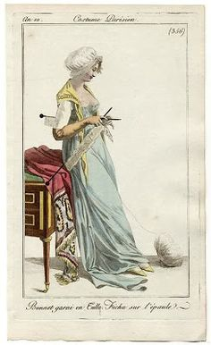 Knitting Patterns Needles Unusually large knitting accoutrements in a fashion plate Historical Costume, Historical Clothing, Tricot D'art, Art Du Fil, Knitting Humor, Knit Art, Regency Era, Empire Style, Jane Austen