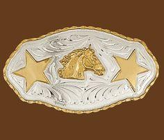 German Silver Horsehead  & Stars Belt Buckle
