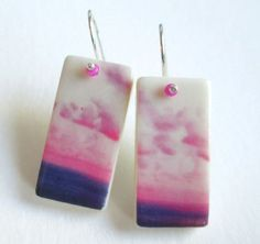 Pink Passion Skies Domino Earrings ali herrmann by theotherali