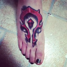 World of Warcraft-Horde tattoo. For kicking in some Alliance skulls!