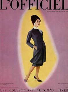 Australian model Jean Newington on the cover in design by (YSL) Christian Dior, photo by Philippe Pottier, L'Officiel Sept. 1959