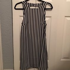 White and Navy Blue Strip Dress 100% Polyester Dress Open Back Dress Cute For Summer Days bought from Vici Doll boutique Olivaceous Dresses Mini
