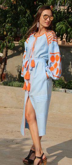 Fanm Mon Light Blue Linen Orange Vyshyvanka MIDI Dress Orange Embroidery. Sizes - XS-XXL MD011-00022