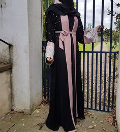 The 'Galaxy Pearl Abaya'. Has an inner pink dress if you wish to wear or can be worn as a beautiful open abaya💕 Modest Fashion Hijab, Abaya Fashion, Modest Outfits, Fashion Art, Womens Fashion, Fashion Design, Beautiful Hijab, Beautiful Dresses, Mode Abaya
