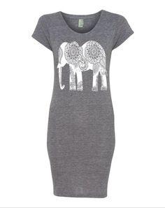Womens Boho Paisley ELEPHANT Dress Tribal Bohemian TriBlend Short Sleeve Lakeside Dress screenprint beach coverup S M L XL More colors