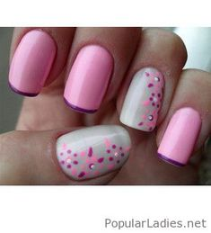 Pink nails with little purple tips and details