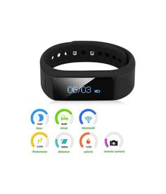 iParis Womens i9 iOS Deep Blue Smart Bracelet Fitness Tracker