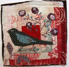 Hand sewn applique and stitch on to pieced or collaged vintage or recycled fabrics by Mandy Pattullo