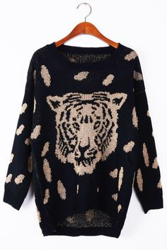 Do want this Tiger Head Graphic High-Low Sweater - OASAP.com