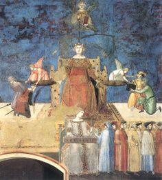 Ambrogio Lorenzetti, détail de la Justice, fresque de l'Allégorie du bon gouvernement. 1337-1339. Salle des Neuf, Palais Publique, Sienne.