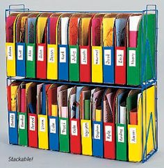 good way to keep students work separated and organized - not sure how practical for a high school classroom but i'm sure i could find some use for this