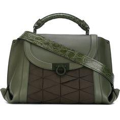 Salvatore Ferragamo Suzanna Bag (2,355 CAD) ❤ liked on Polyvore featuring bags, handbags, shoulder bags, green, clasp handbag, patent leather purse, salvatore ferragamo purse, green patent leather handbag and shoulder strap purses