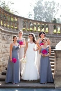 Grey And Hot Pink Bridesmaid Dresses - Flower Girl Dresses