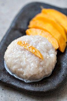 Thai Mango Sticky Rice Recipe ~ Thai Dessert with Sticky Rice & Mangoes