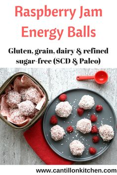 Raspberry Jam Energy Balls - A healthy pick-me-up snack Grain Free, Dairy Free, Specific Carbohydrate Diet, Energy Balls, Vegetarian Paleo, Natural Sugar, Butternut Squash, Sugar Free, Healthy Snacks
