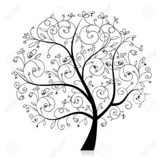 Oak Tree Sketches Black And