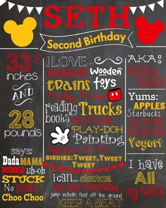 Mickey Mouse Birthday Chalkboard - Red - Yellow - White - Gloves - Mickey Ears
