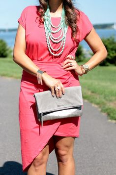 Coral Reef Dress & Layered Necklace