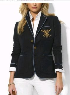 Ralph Lauren Women s 2011 Crested Blazer in Navy — with a white button-down  and wide-leg white pants 898ff2d7e0
