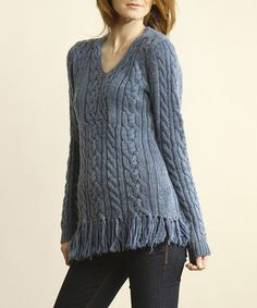 Take a look at this Denim Blue Crocheted Fringe Tunic by Young Threads on #zulily today! Misses Clothing, Cable Knit, Stitch Fix, Blue Denim, Tunic, Pullover, Boho, Knitting, My Style