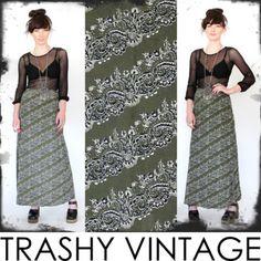 vtg 90s 70s ETHNIC PAISLEY boho HIGH WAIST waisted FESTIVAL maxi dress skirt S/M $18.00