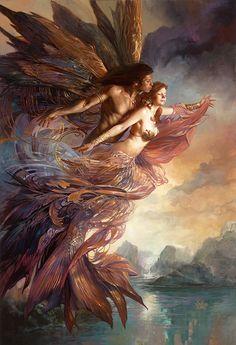 Fantasy art prints from Boris Vallejo and Julie Bell Boris Vallejo, Julie Bell, Bell Art, Mermaids And Mermen, Pics Of Mermaids, Angels And Demons, Dark Angels, Mermaid Art, Angel Art
