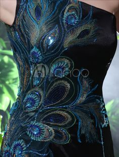 One-Shoulder Peacock Print Evening Dress Milanoo Wedding Dress - Weddings - Dresses, Engagement Rings, and Ideas! Peacock Print, Peacock Theme, Peacock Design, Pretty Dresses, Beautiful Dresses, Bordados Tambour, Peacock Dress, Peacock Shoes, Peacock Jewelry
