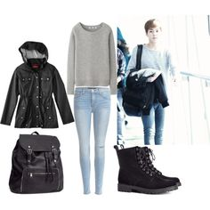 EXO Airport Fashion Xiumin Inspired Outfit by smokingcrayonz on Polyvore featuring Uniqlo, J Brand and H&M