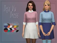 A lovely shirt dress + sweater combo for your simmies. Found in TSR Category 'Sims 4 Female Everyday'
