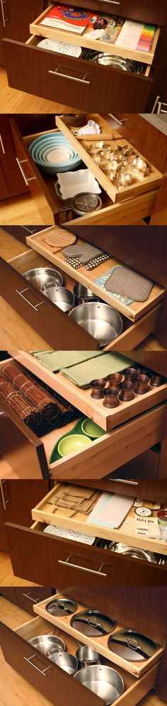 A Shallow Roll-Out Tray in any drawer can add more storage and functionality to your kitchen by storing things like; lids, kitchen linens, oven mitts, cookie cutters, craft supplies, recipes, and much more.