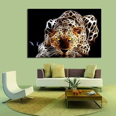 Leopard Wall Decor 3 piece painting on canvas wall art relaxing snow leopard print